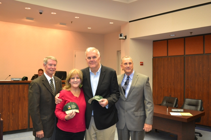 From Left: Mayor Parrish, Woman of the Year Meg Carroll, Grand Marshal Steve Randolph, and Parade Committee Chairman John Martin